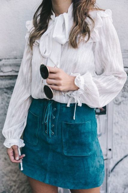 Eye catching lace up skirt and adorable blouse