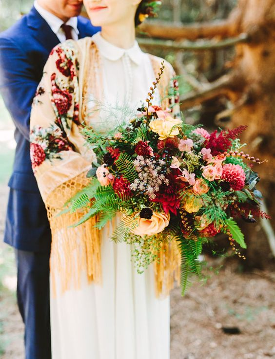 boho chic fall wedding bouquet and cover up