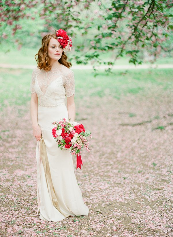 vintage wedding dresses - photo by Brklyn View Photography http://ruffledblog.com/central-park-cherry-blossom-shoot