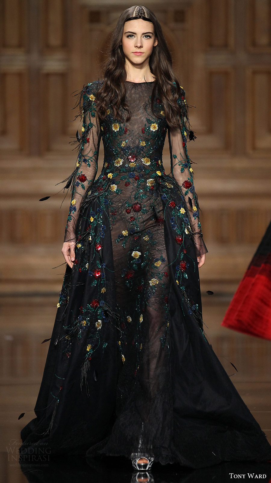 tony ward couture fall 2016 illusion long sleeves jewel neck sheer bodice sheath gown overskirt (34) mv black color