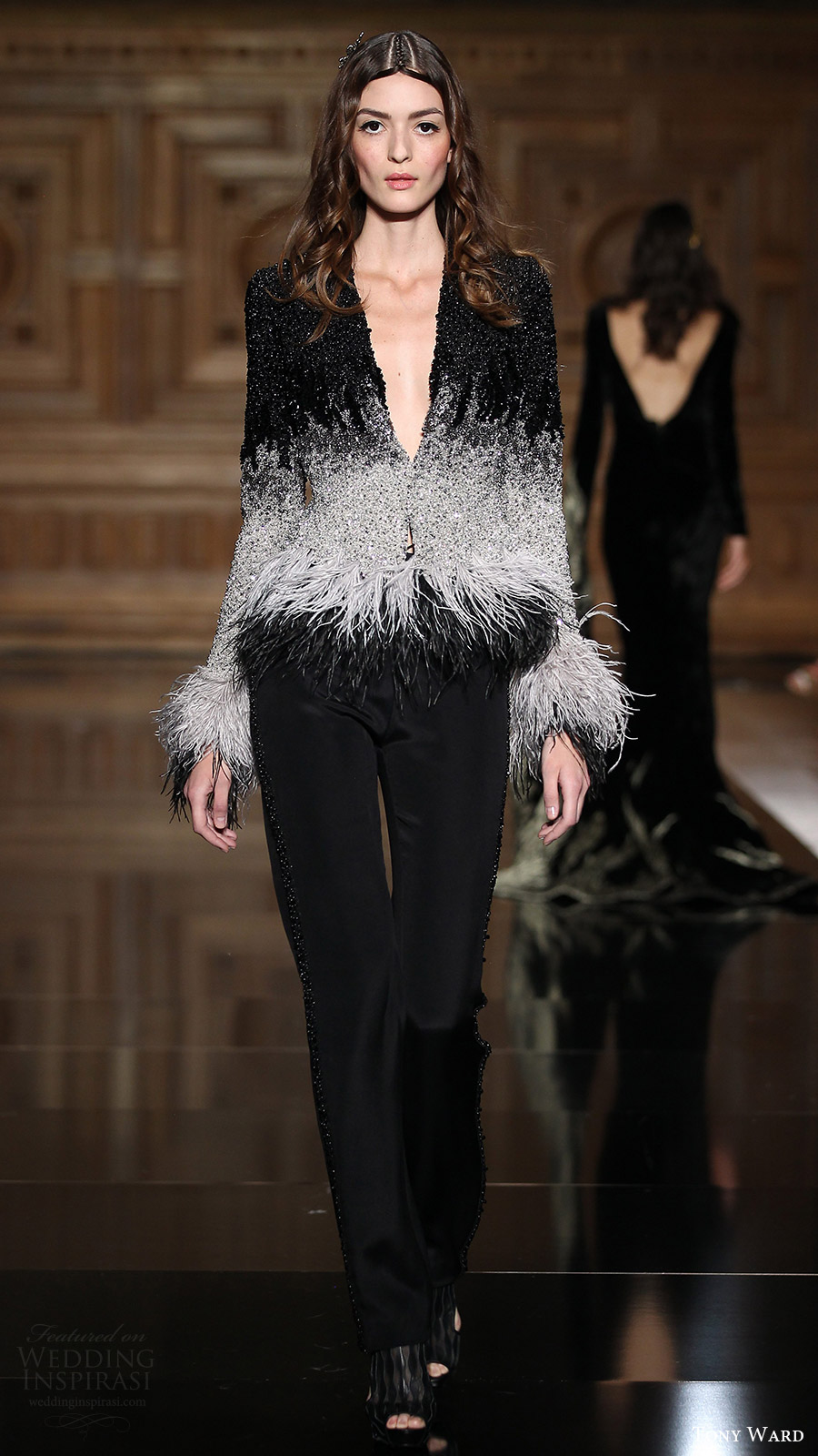 tony ward couture fall 2016 long sleeves deep v neck top feathers pants (38) mv black color