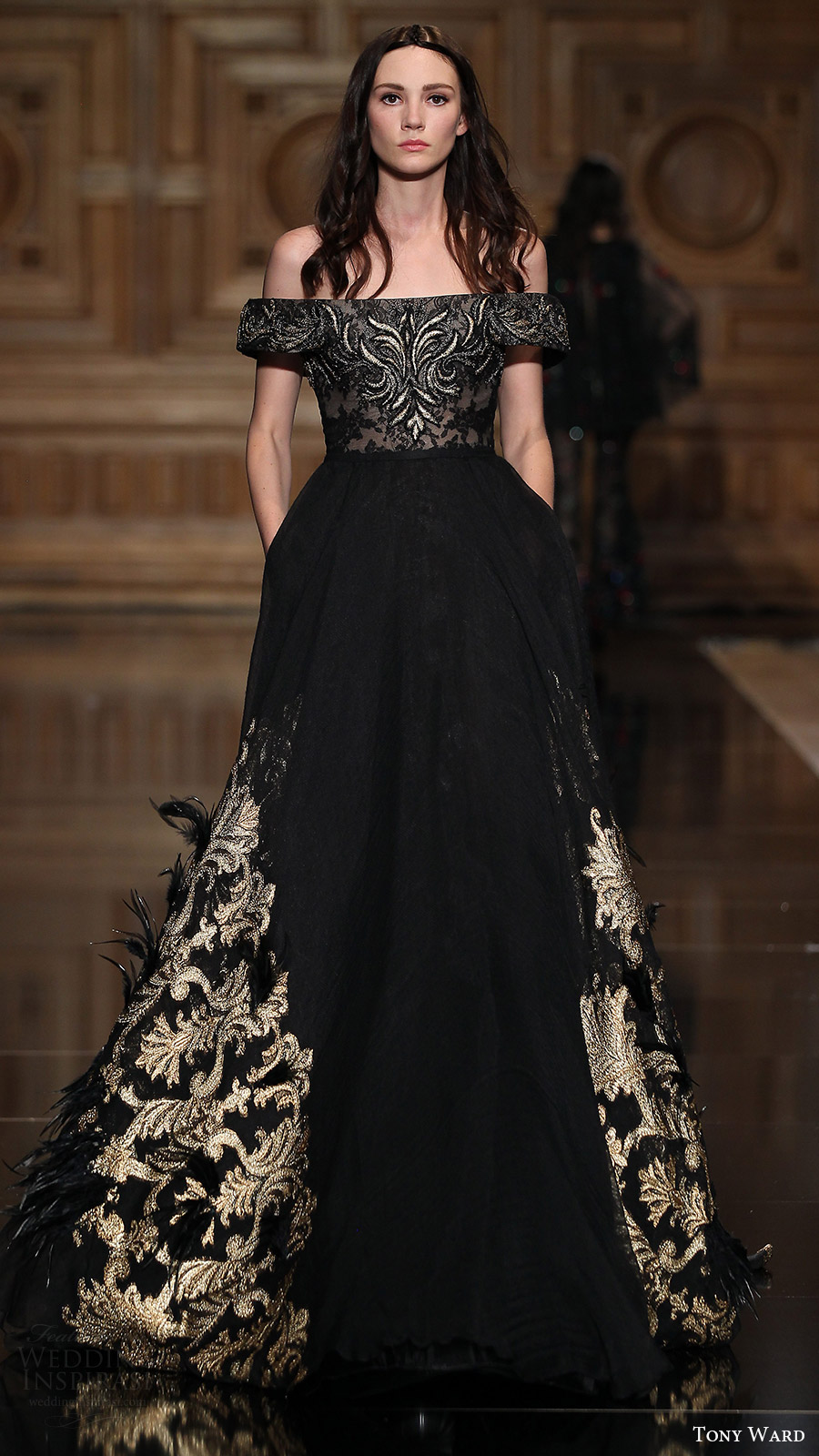tony ward couture fall 2016 off shoulder ball gown (36) mv black color gold embroidery