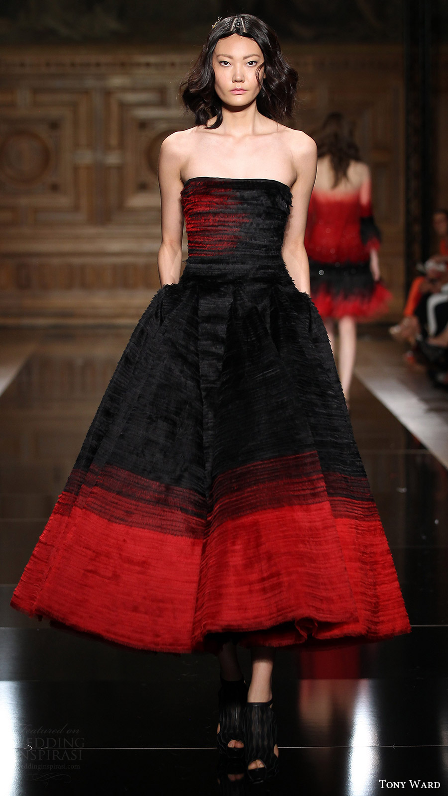 tony ward couture fall 2016 strapless straight across tea length cocktail dress (33) mv black red color
