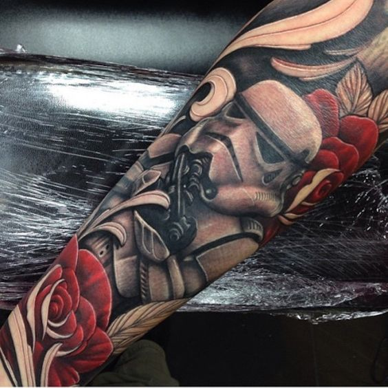 bold Star Wars sleeve tattoo