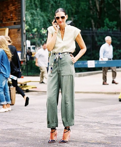 Super trendy look with loose cargos, belt and blouse