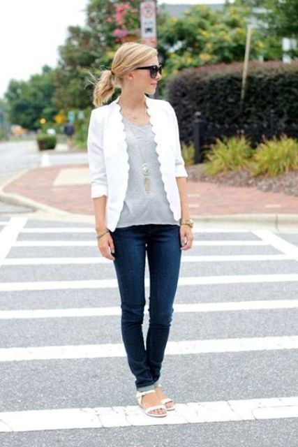 Look with white scallop trim jacket, jeans and gray t-shirt