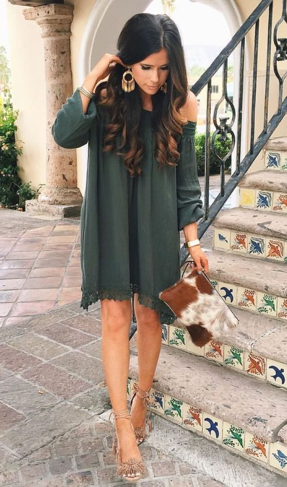 off the shoulder dark ggreen dress with nude heels