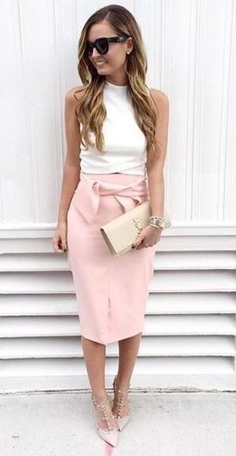 blush pencil skirt, a white top and blush shoes
