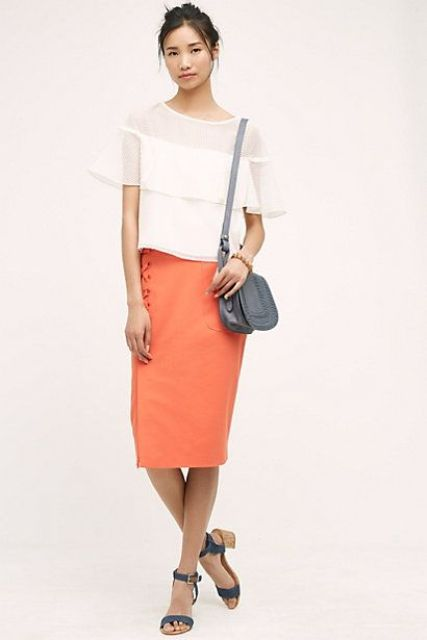 Outfit with ruffle blouse and skirt
