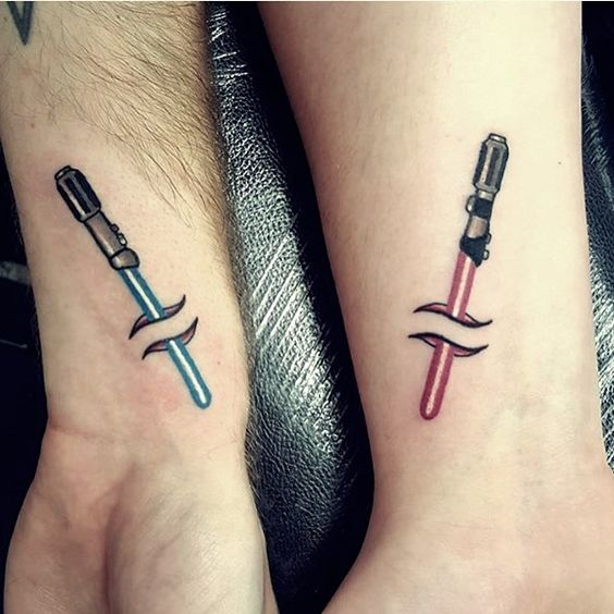 lightsaber couple tattoos