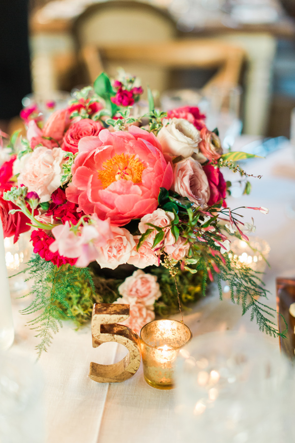 coral charm peony centerpiece - photo by Valorie Darling Photography http://ruffledblog.com/floral-filled-carondelet-house-wedding