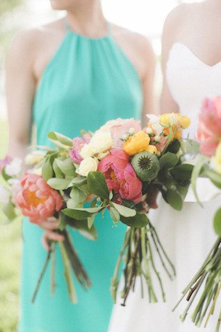 Bright and colorful bridal and bridesmaids bouquet| Stephanie Yonce Photography