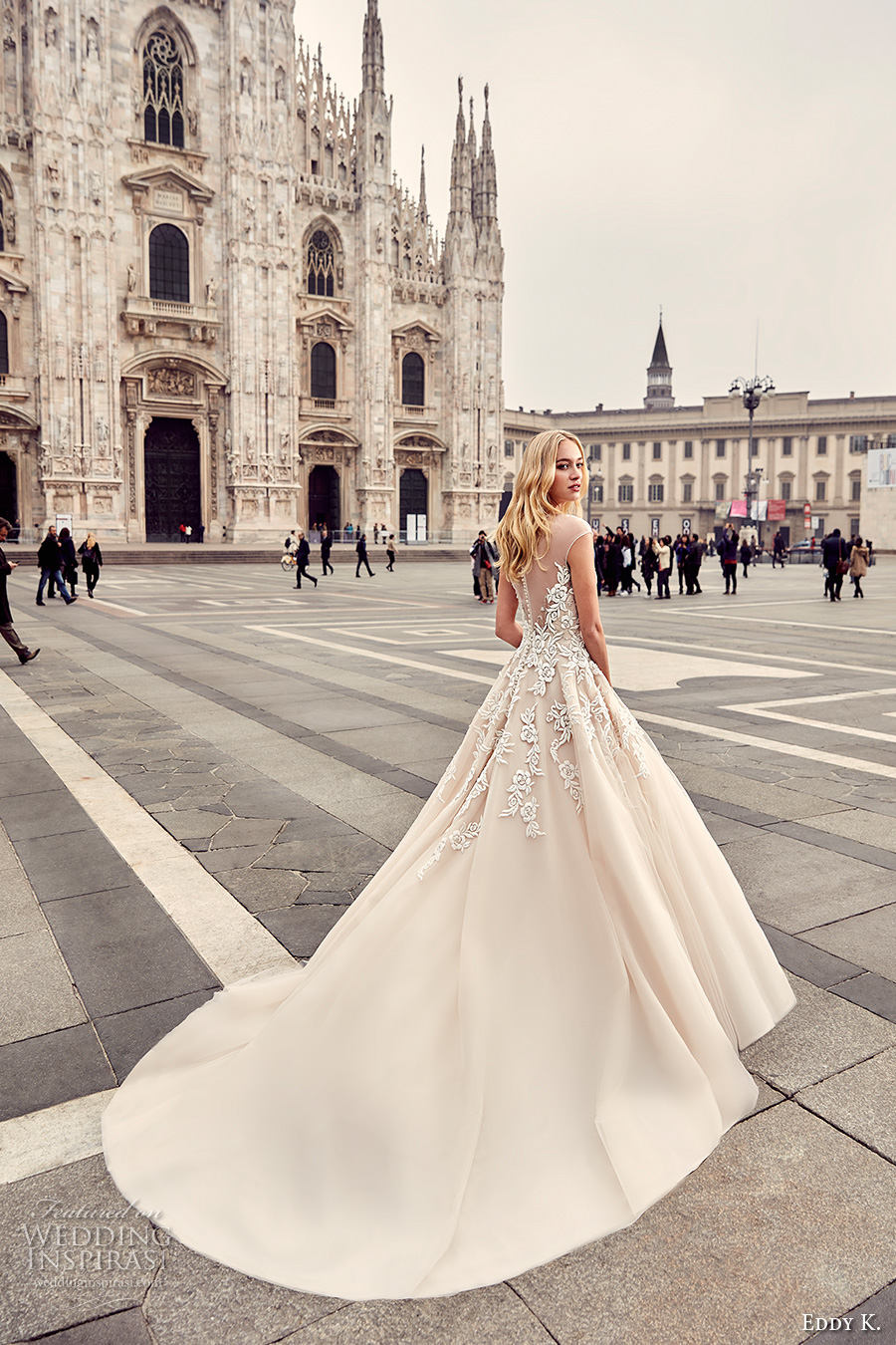 eddy k milano bridal 2017 cap sleeves illusion round neck heavily embellished bodice romantic a line ball gown wedding dress (md231) royal train bv