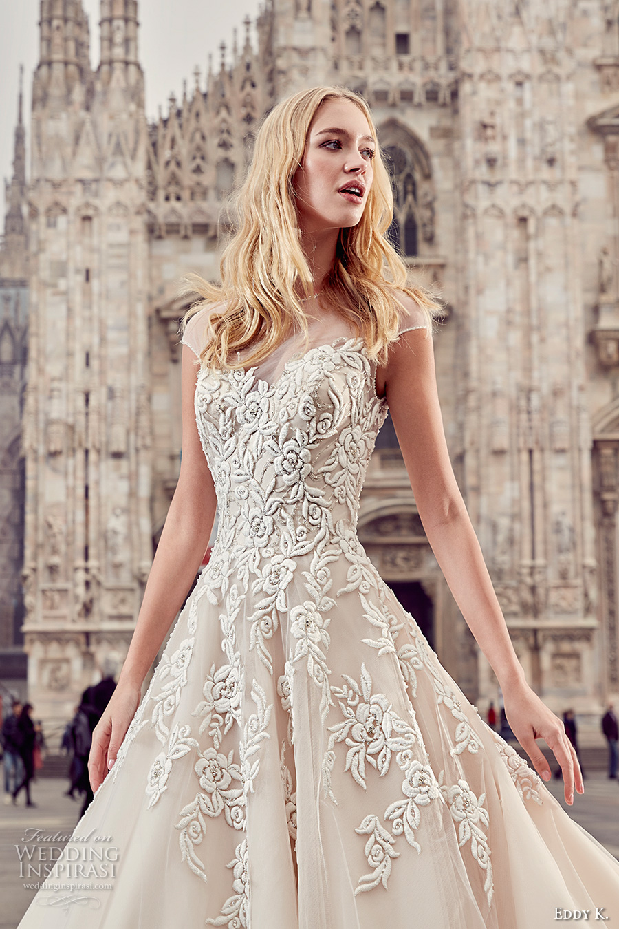 eddy k milano bridal 2017 cap sleeves illusion round neck heavily embellished bodice romantic a line ball gown wedding dress (md231) royal train zv