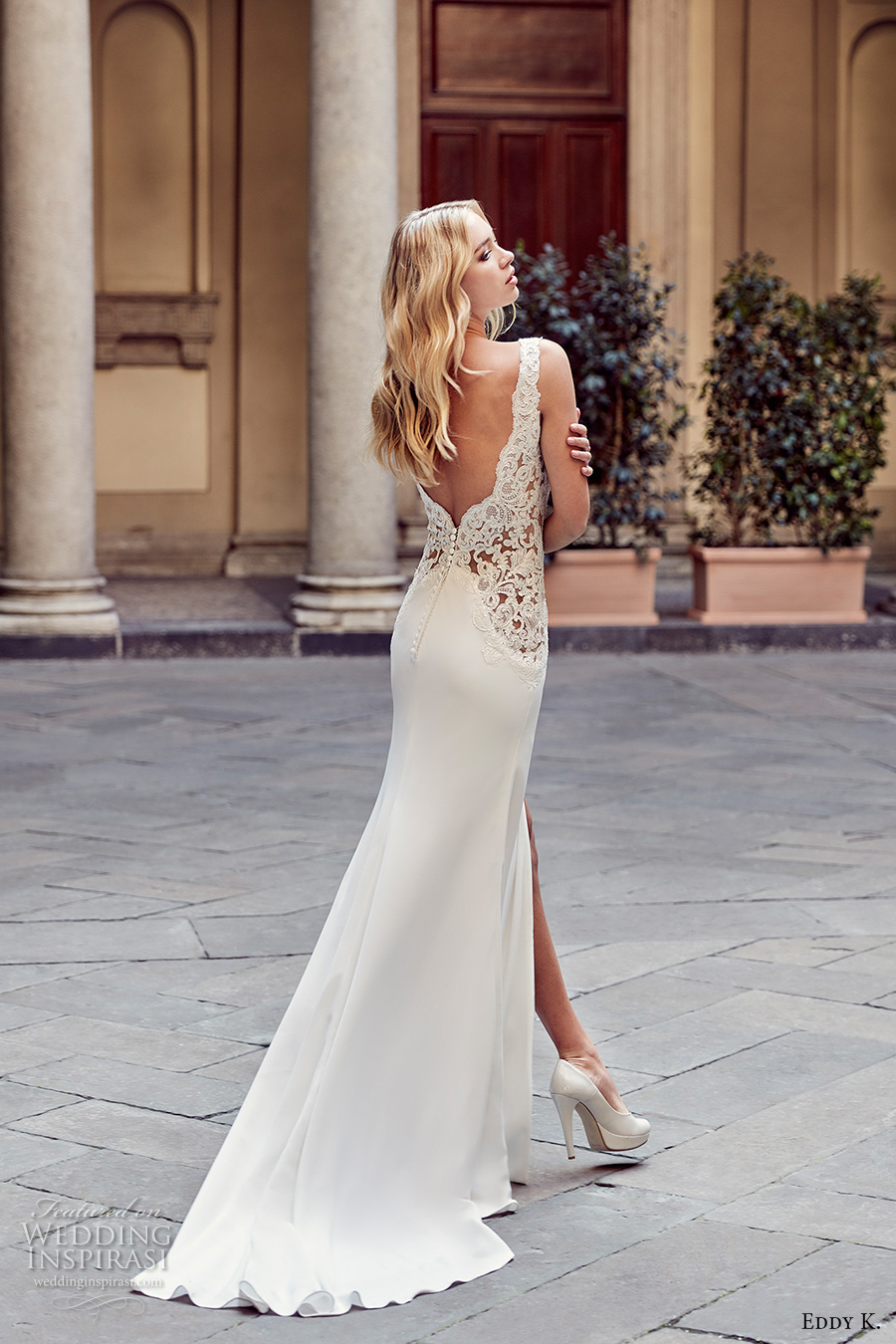 eddy k milano bridal 2017 sleeveless thick strap deep plunging v neckline sexy sheath wedding dress with split sweep low back sweep train (md228) bv