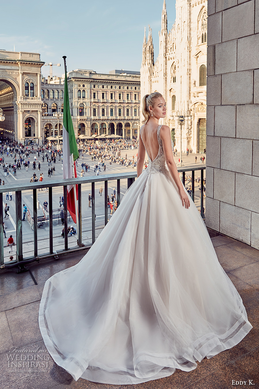 eddy k milano bridal 2017 sleeveless with strap v neck heavily embellished bodice a line ball gown tulle wedding dress low open back (md230) bv