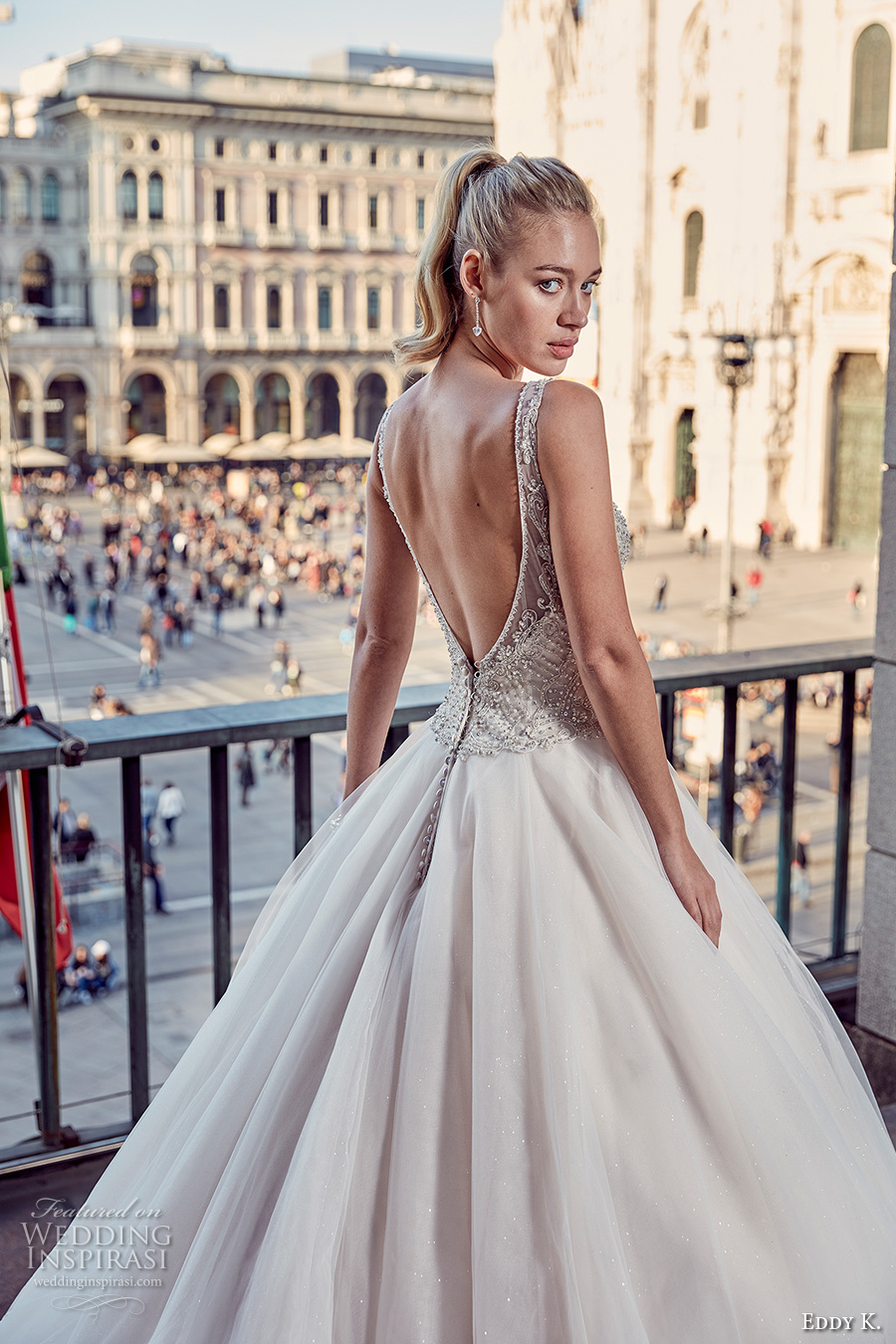 eddy k milano bridal 2017 sleeveless with strap v neck heavily embellished bodice a line ball gown tulle wedding dress low open back (md230) zbv