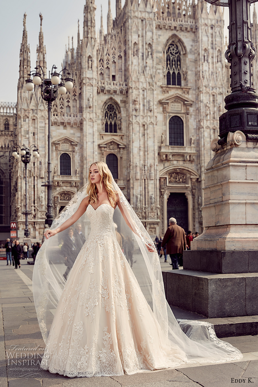 eddy k milano bridal 2017 strapless sweetheart neckline heavily embellished bodice princess ball gown a line wedding dress (md229) mv