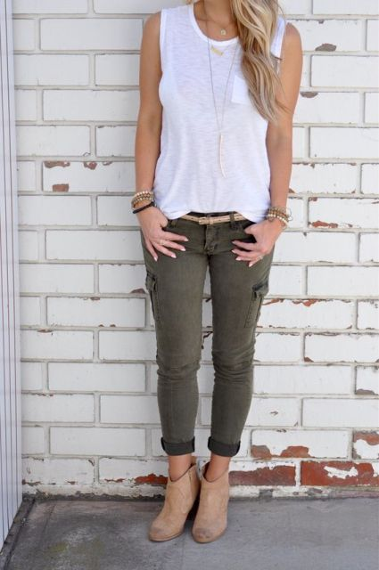 Stylish outfit with cargo pants and boots