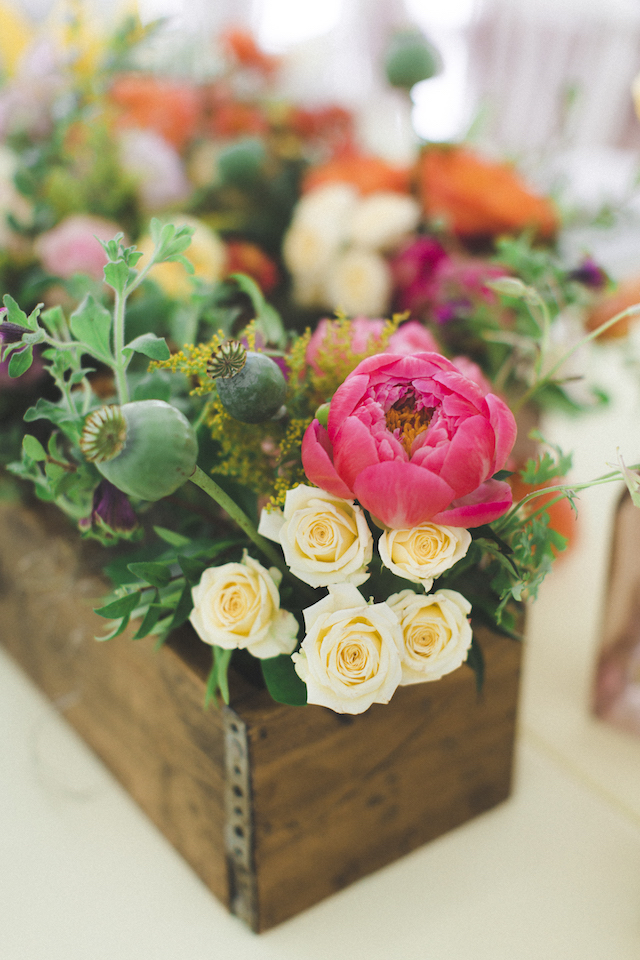 Planter boxes wedding reception centerpieces | Stephanie Yonce Photography