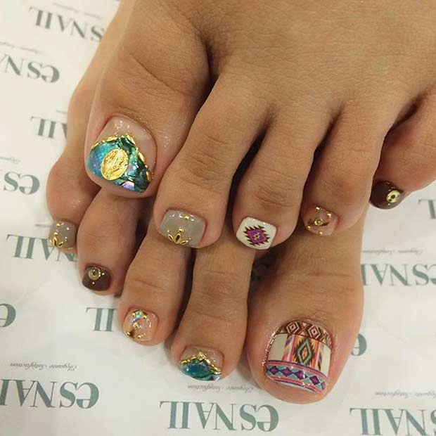 Tribal Aztec Toe Nail Design for Summer
