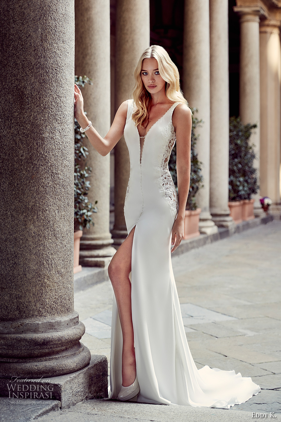 eddy k milano bridal 2017 sleeveless thick strap deep plunging v neckline sexy sheath wedding dress with split sweep low back sweep train (md228) mv