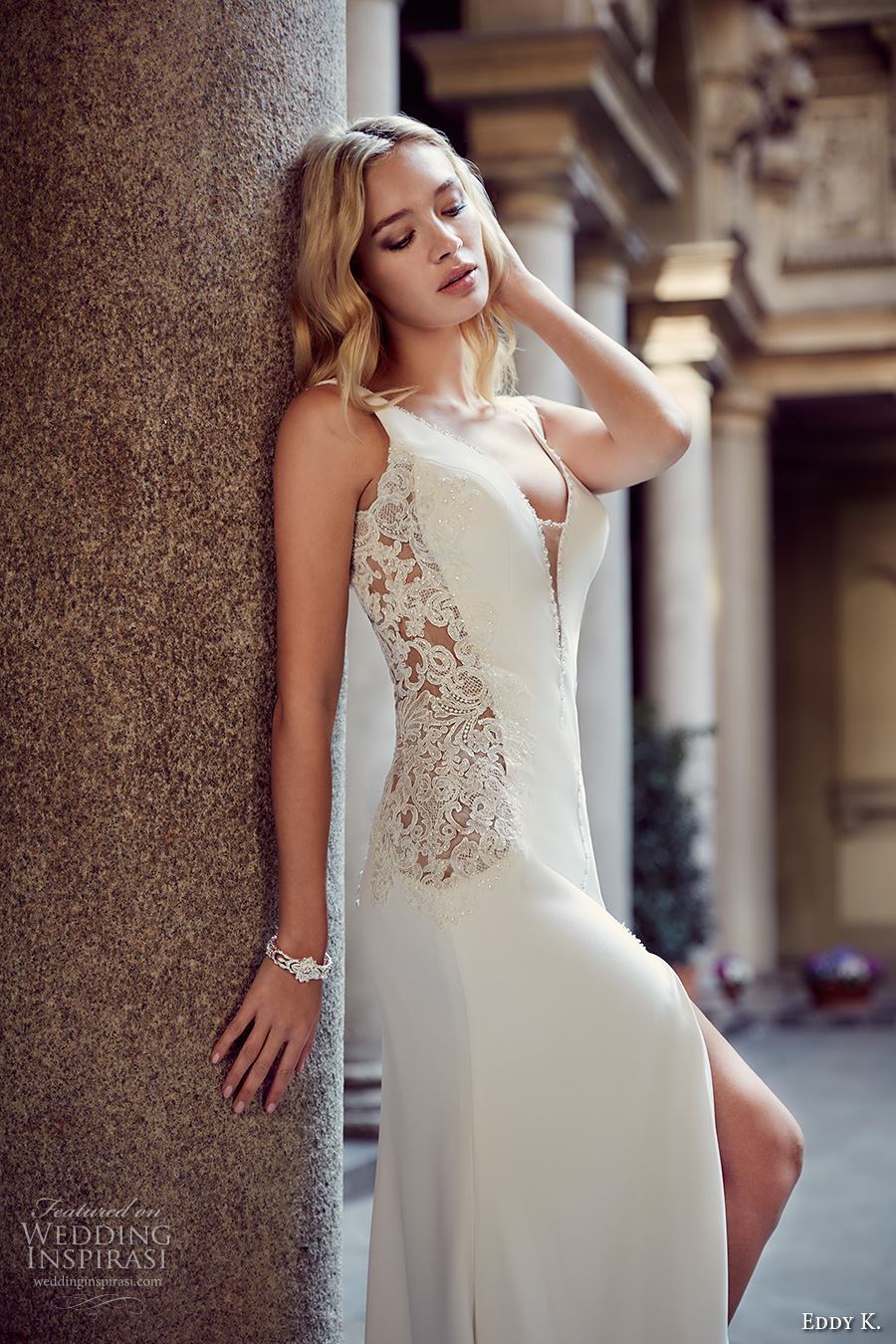 eddy k milano bridal 2017 sleeveless thick strap deep plunging v neckline sexy sheath wedding dress with split sweep low back sweep train (md228) zv