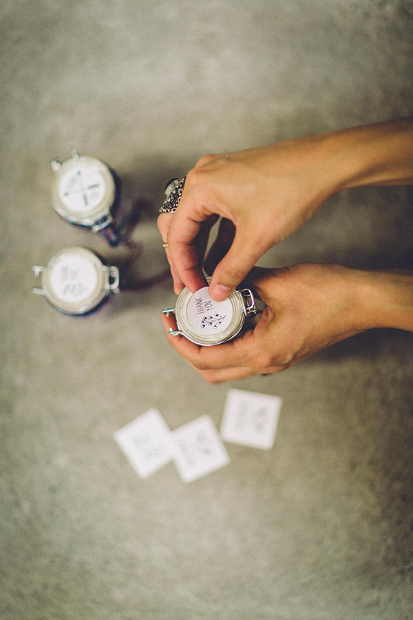 how to make wedding favors - photo by Jenn Byrne Creative http://ruffledblog.com/diy-purple-rock-candy-favors