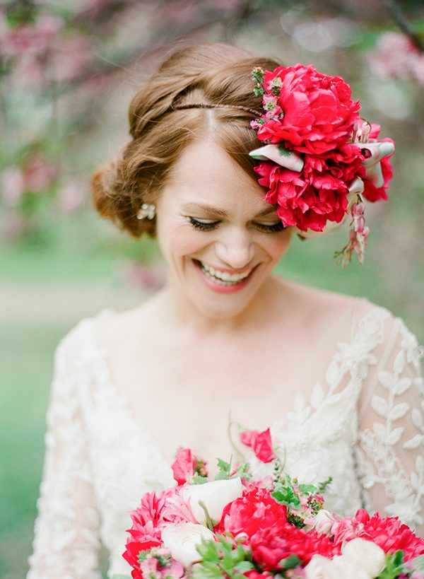 floral hairpieces - photo by Brklyn View Photography http://ruffledblog.com/central-park-cherry-blossom-shoot