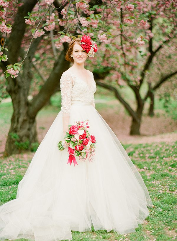 ball gowns - photo by Brklyn View Photography http://ruffledblog.com/central-park-cherry-blossom-shoot