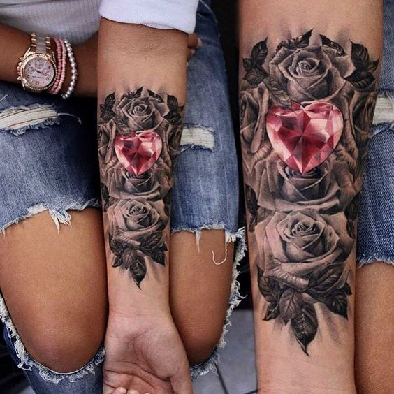 black roses and a diamond heart matching tattoos