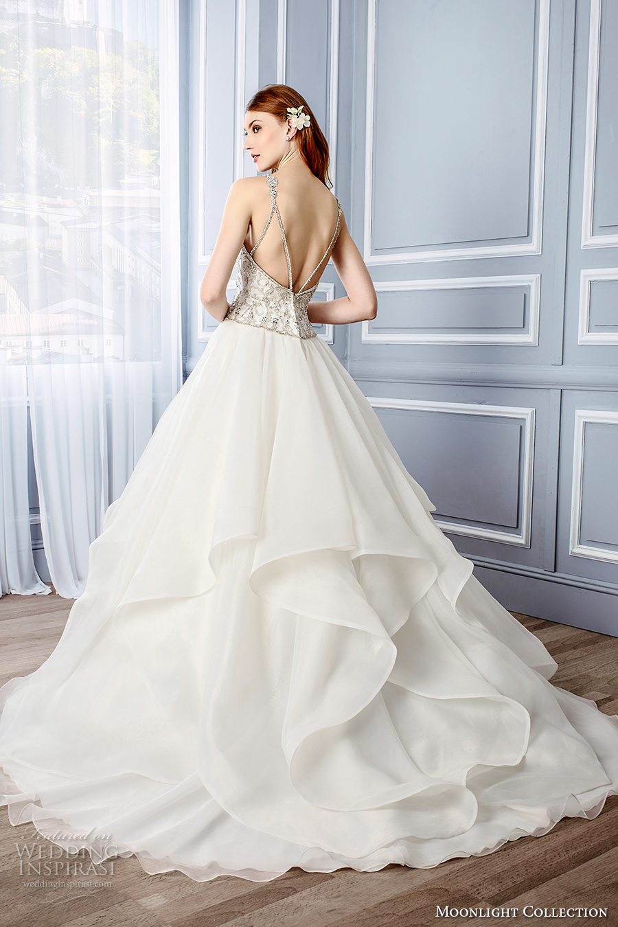 moonlight collection fall 2016 bridal beaded thin strap sweetheart neckline heavily embellished princess a line wedding dress low back chapel train (j6439) bv