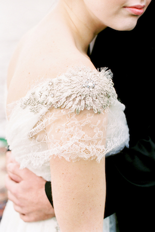 Lace cap sleeve wedding dress with beaded details | Alexis June Weddings