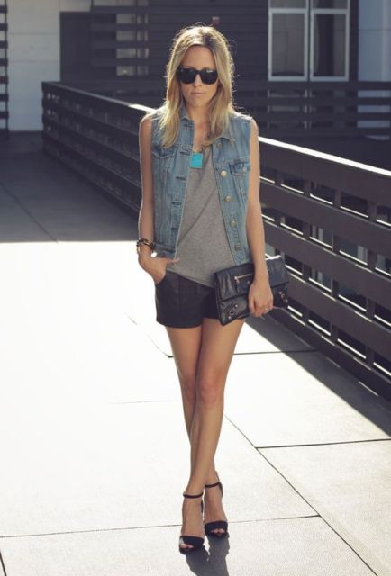 Stylish outfit with shorts, vest and heels
