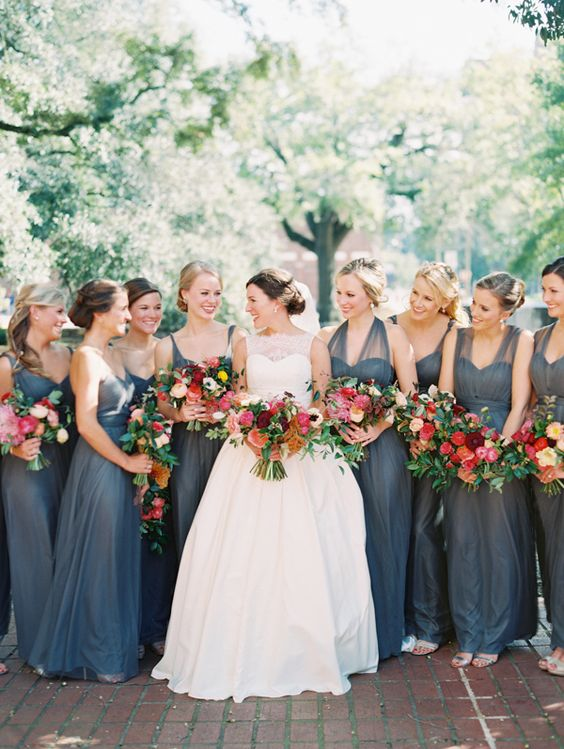 dark grey bridesmaids