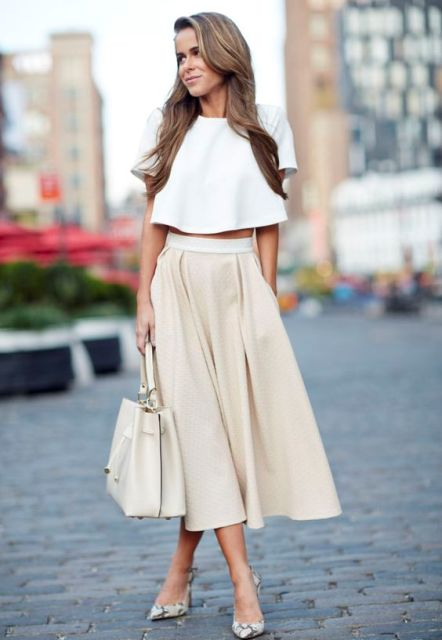 Outfit with crop top and A-line midi skirt