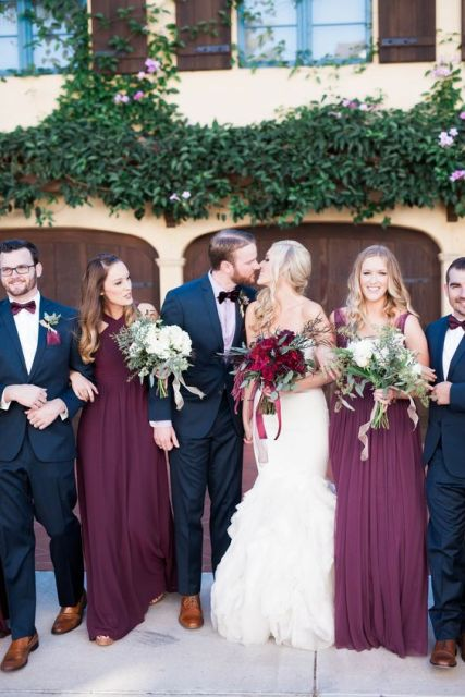 Gorgeous marsala maxi bridesmaid dresses