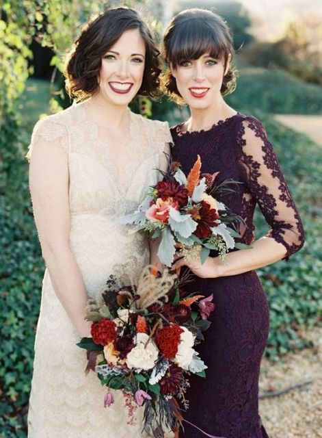 Lace marsala bridesmaid dress