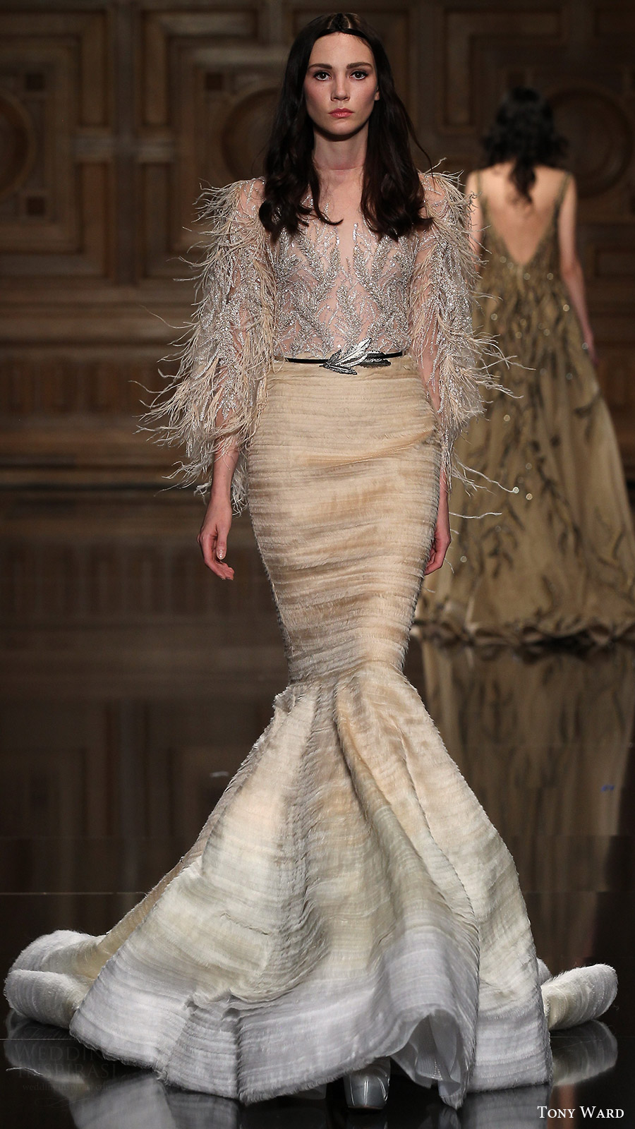 tony ward couture fall 2016 long sleeve illusion feather top mermaid skirt (08) mv