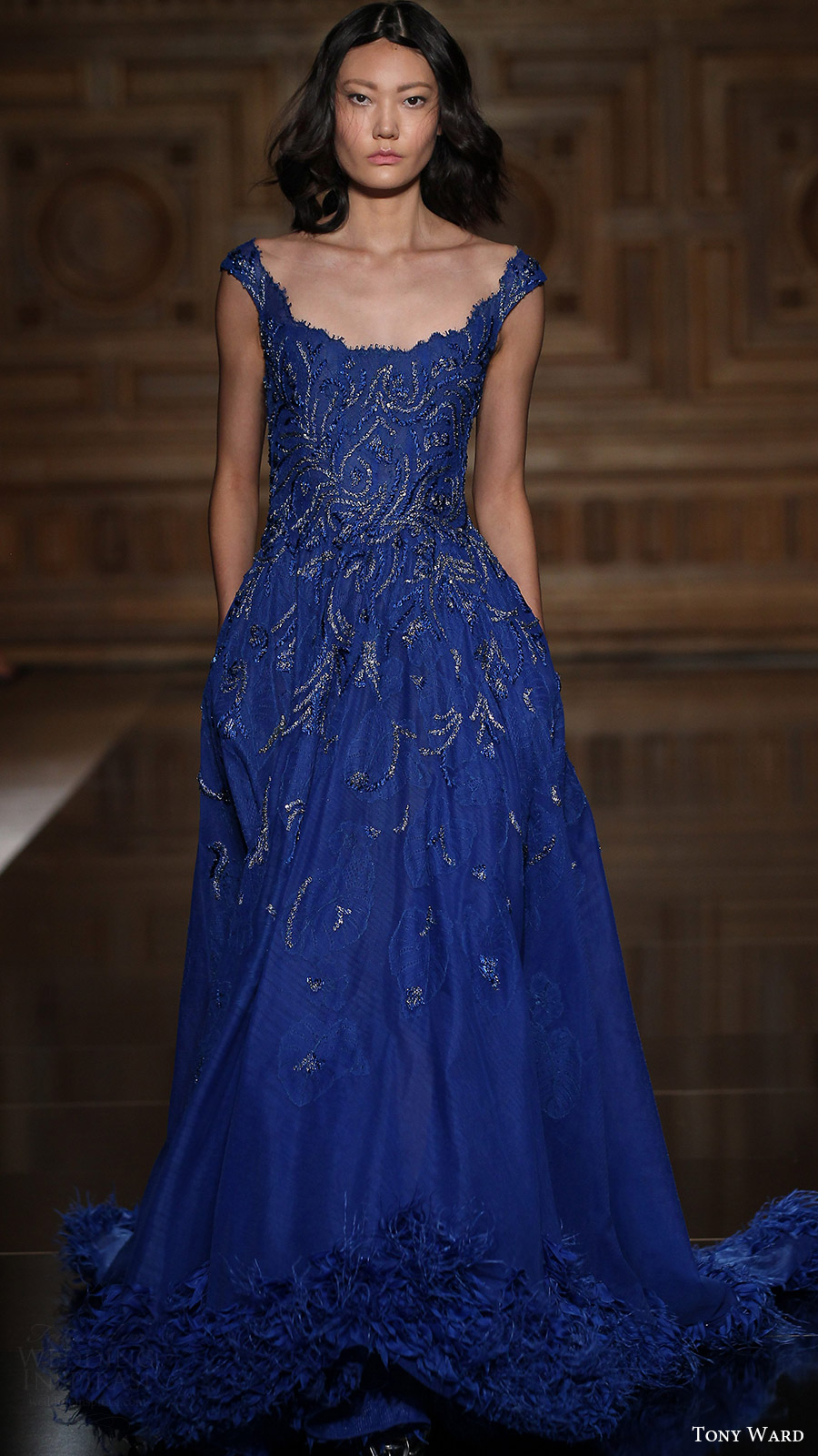 tony ward couture fall 2016 off shoulder blue full a line evening gown (06) mv