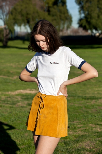 Suede lace up skirt and simple t shirt