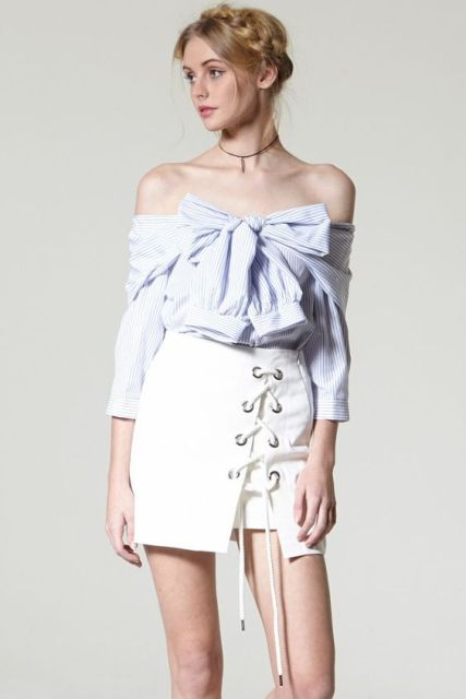 Unique look with white skirt and off the shoulder shirt
