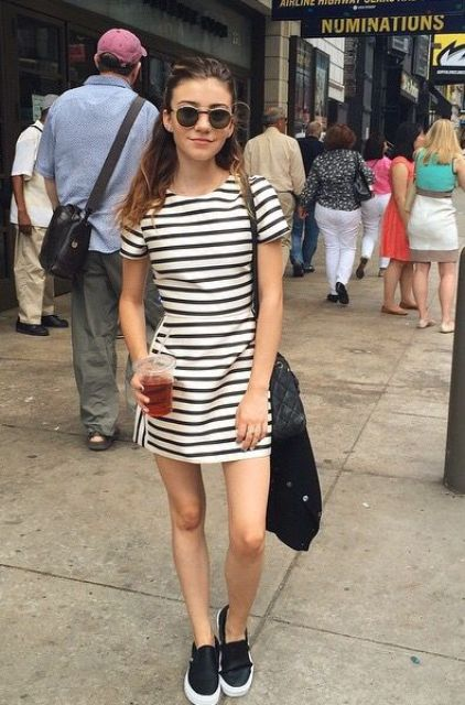 simple striped dress with black Vans