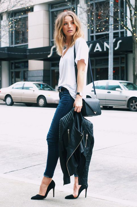 navy skinnies, a white tee and black heels with a black leather jacket