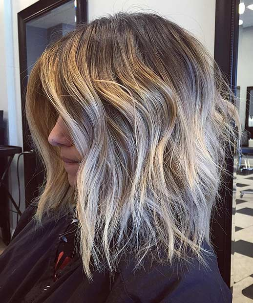 Messy Textured Blonde Long Bob Hairstyle