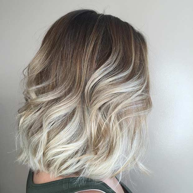 Wavy Blonde Ombre Long Bob Hairstyle