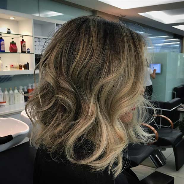 Curly Textured Long Bob Hairstyle with Balayage Highlights