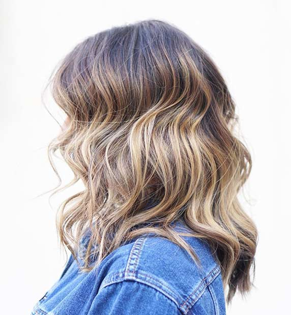 Honey Blonde Balayage Long Bob Hairstyle for Thick