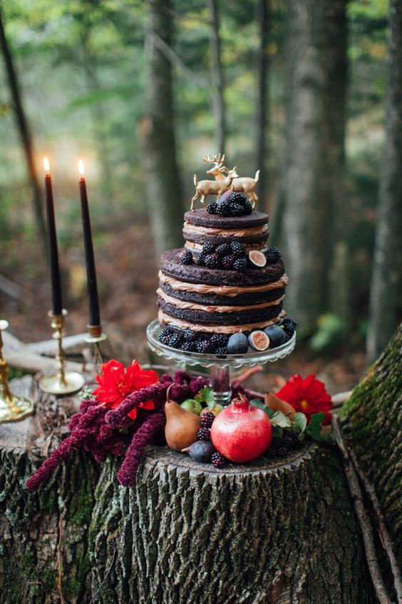 moody naked cake with figs and blackberries