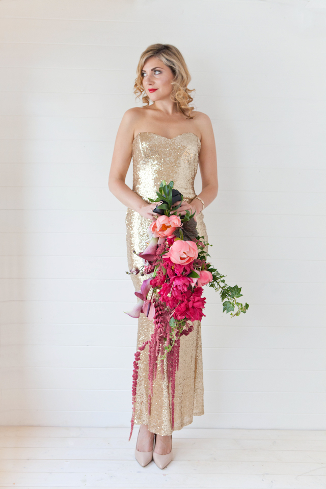 Cascading bridal bouquet with peonies and a gold sequin dress | Corette Faux